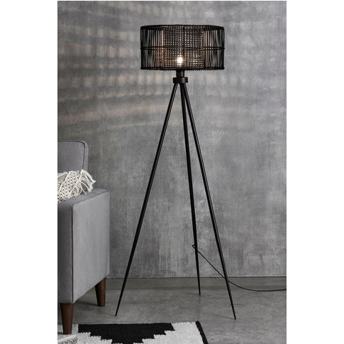 Next Kai Rattan Tripod Floor Lamp -  Black