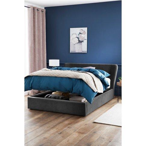 Next Wilson Opulent Velvet Steel Ottoman Bed -  Grey