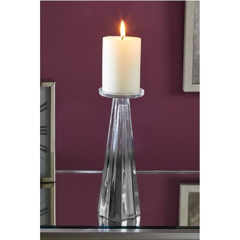 Next Faceted Glass Candle Sticks -  Chrome