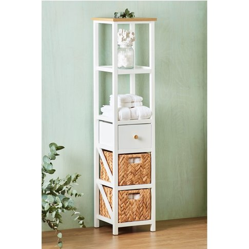 Next Three Drawer Shelf Tall Storage Unit -  Natural