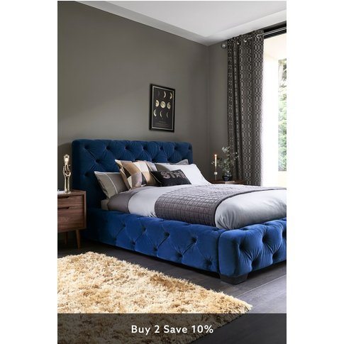 Next Harper Buttoned Bed -  Blue