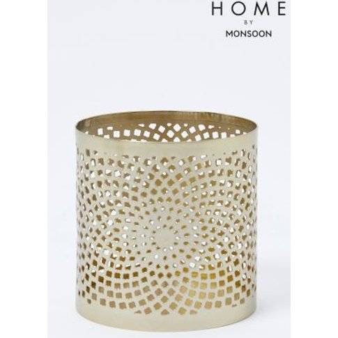 Monsoon Small Floral Pattern Votive -  Gold