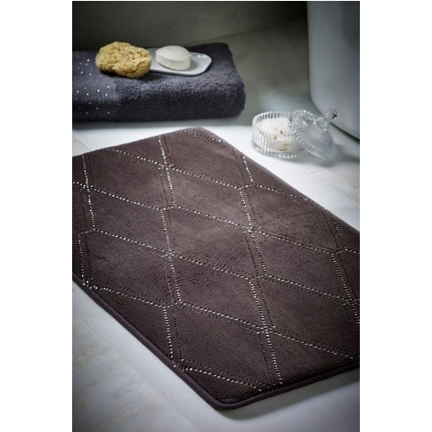 Next Memory Foam Diamanté Bath Mat -  Grey