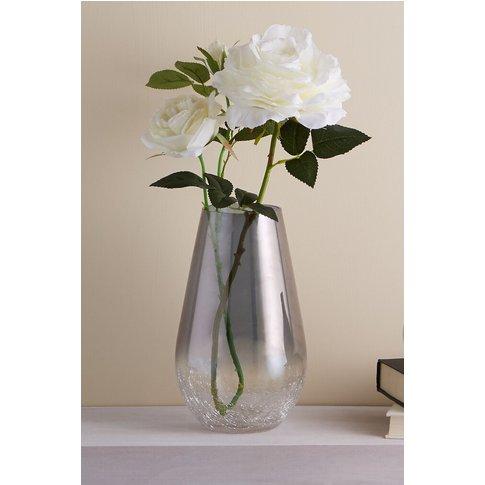 Next Crackle Glass Vase -  Silver