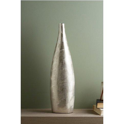 Next Scratch Effect Metal Vase -  Silver