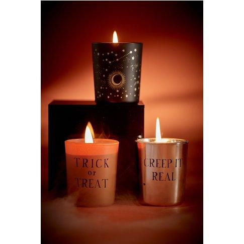 Next Set of 3 Votive Halloween Candles -  Orange