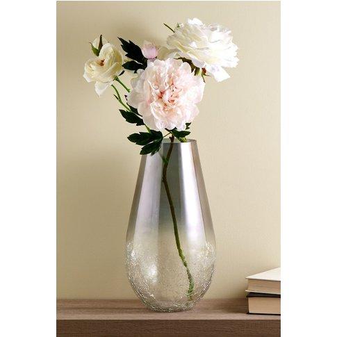 Next Large Ombre Crackle Glass Vase -  Silver