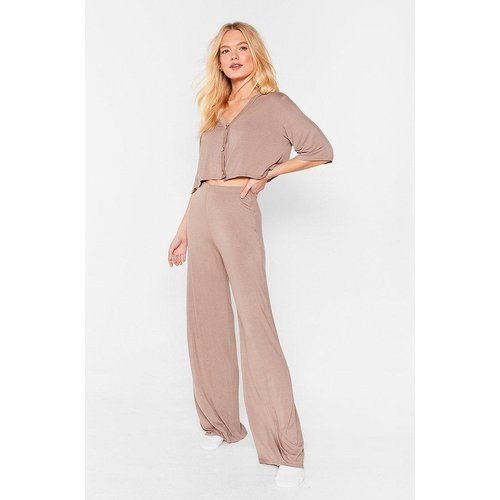 Womens Pyjama Crop Top & Pantalon Large Taille Haute - Nasty Gal - Modalova