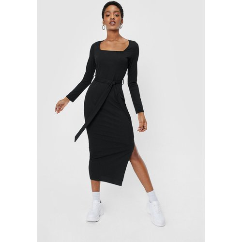 Womens Ribbed Belted Slit Midi Dress - Nasty Gal - Modalova