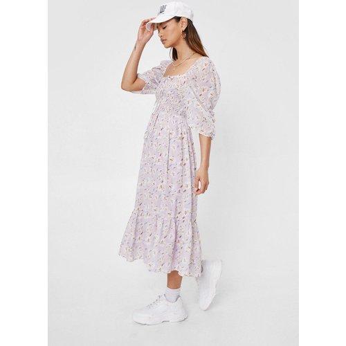 Petite Floral Print Shirred Midi Dress - Nasty Gal - Modalova