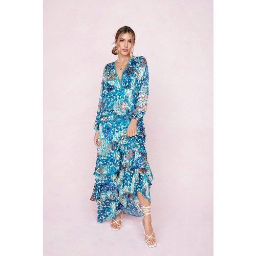 Cut Out Abstract Print Tiered Ruffle Maxi Dress - Nasty Gal - Modalova