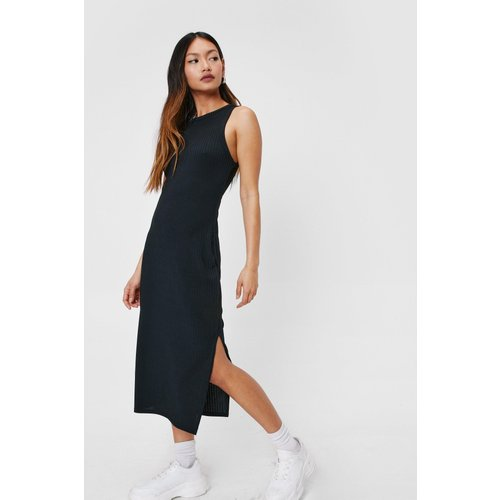 Womens Petite Ribbed Racer Midi Dress - Nasty Gal - Modalova