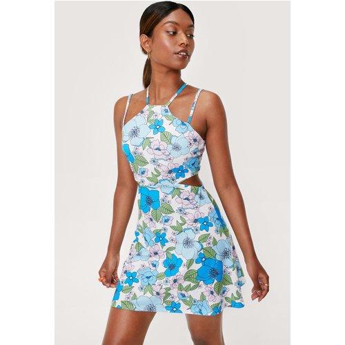Cut Out Side Retro Floral Mini Dress - Nasty Gal - Modalova