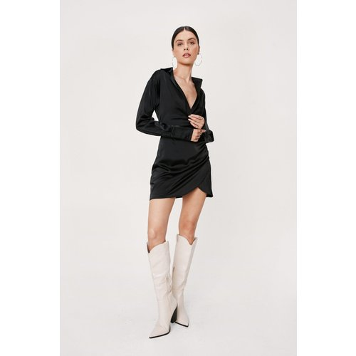 Satin Button Down Mini Shirt Dress - Nasty Gal - Modalova