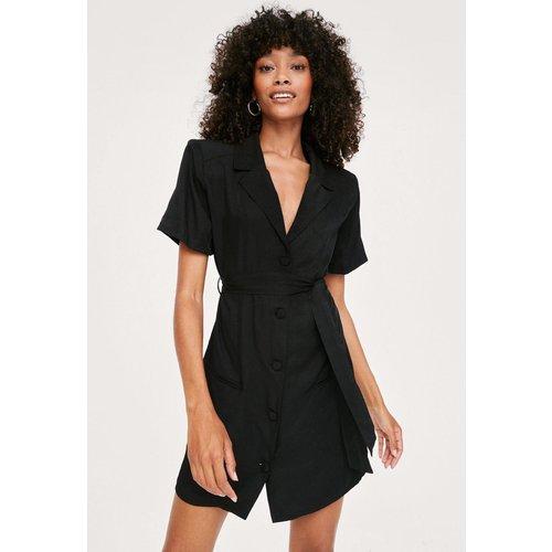Padded Shoulder Belted Shirt Dress - Nasty Gal - Modalova