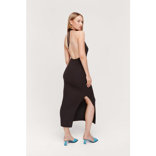Ripple Rib Halterneck Maxi Dress - Nasty Gal - Modalova