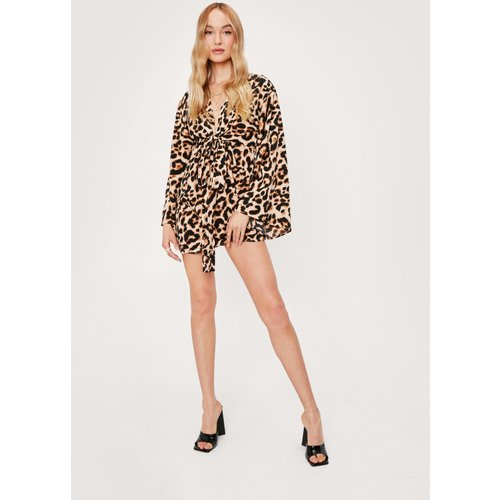 Leopard Print Kimono Mini Dress - Nasty Gal - Modalova