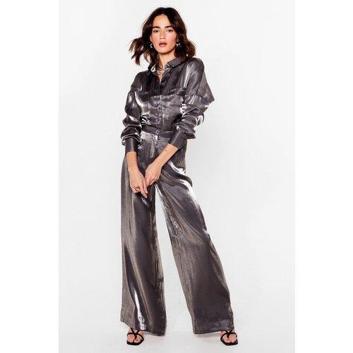 Womens Petite - Pantalon Large Brillant À Taille Haute Tu Vas Faire Des Étincelles - Nasty Gal - Modalova