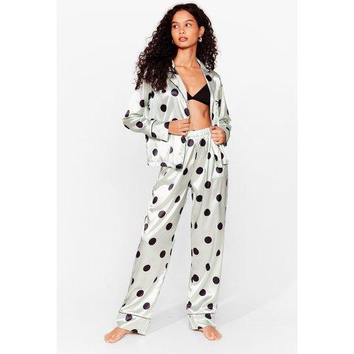 Womens Pyjama Chemise & Pantalon En Satin À Pois C'Est Pois La Peine De Dire Bonne Nuit - Nasty Gal - Modalova