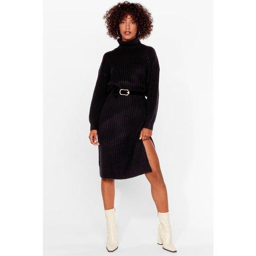 Womens Dressing Gown Pull Fendue En Maille Côtelée Avec Col Roulé La Loi Du Pull Fort - Nasty Gal - Modalova