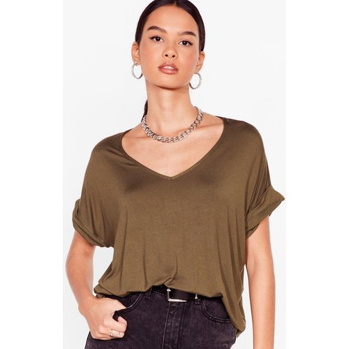 Womens T-Shirt Basique Ample À Col V Je V La Jouer Simple - - S/M - Nasty Gal - Modalova
