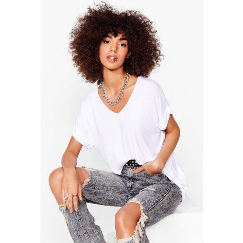 Womens T-Shirt Basique Ample À Col V Je V La Jouer Simple - - M/L - Nasty Gal - Modalova