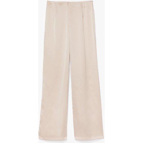 Womens Pantalon Large Taille Haute En Satin - Nasty Gal - Modalova