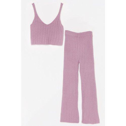 Womens Ensemble Confort Crop Top & Pantalon Large En Maille Côtelée - Nasty Gal - Modalova