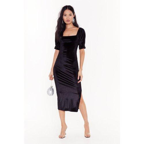 Womens Velvet Puff Sleeve Square Neck Dress - Nasty Gal - Modalova