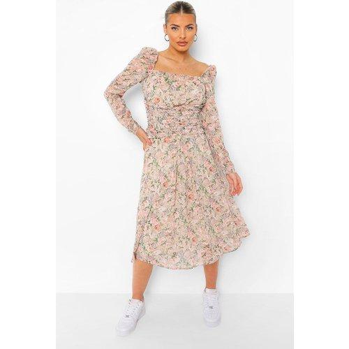 Robe Fleurie Mi-Longue À Taille Plissée - boohoo - Modalova
