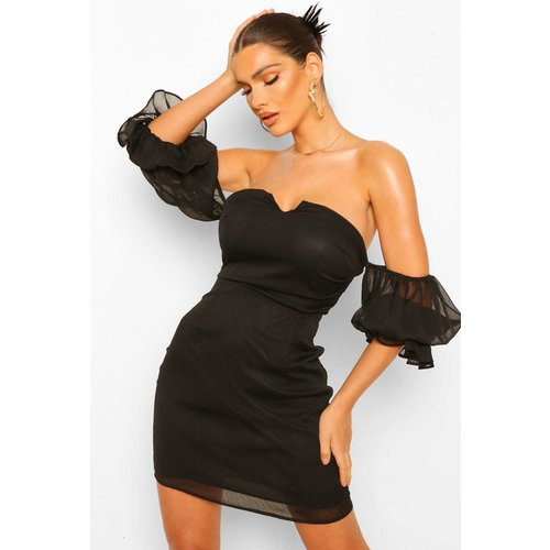 Robe Courte Drapée À Manches Courtes Style Bardot - boohoo - Modalova