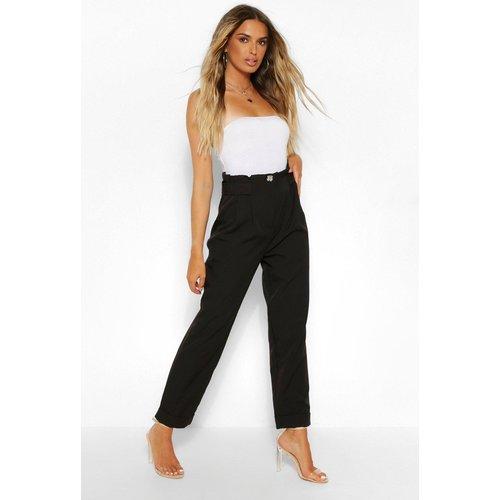Pantalon Droit À Taille Haute Plissée - boohoo - Modalova