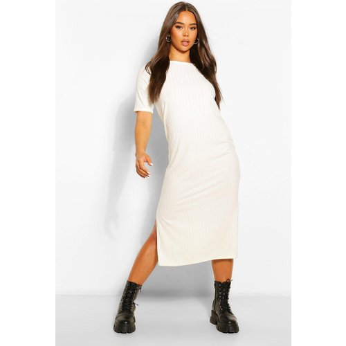 Robe Tunique Midi Côtelée Recyclée - Blanc Écru - 36, Blanc Écru - boohoo - Modalova