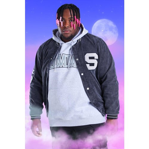 Big And Tall - Bomber de sport côtelé en denim style universitaire - - XXXL - Boohooman - Modalova
