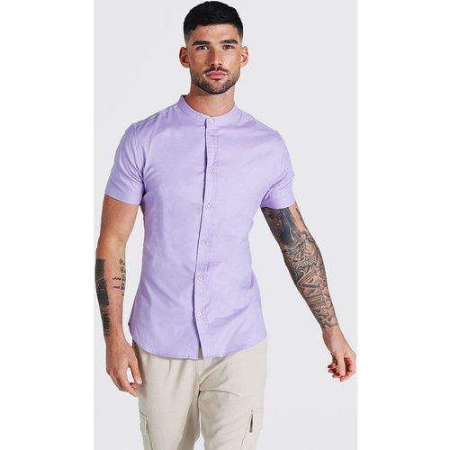 Chemise ajustée à col grand-père - Boohooman - Modalova