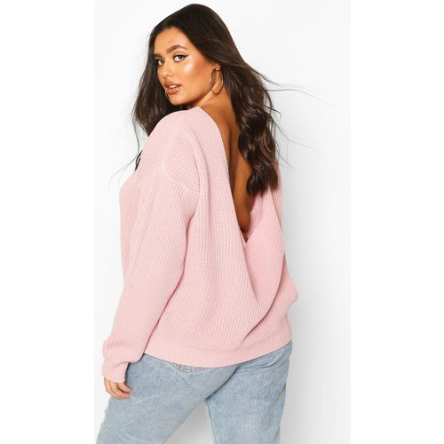 Pull Oversize Dos En V Plus - /Coquille D'Œuf - 44-46, /Coquille D'Œuf - boohoo - Modalova