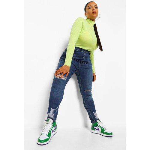 Jean Skinny Déchiré Taille Haute Super Stretch Plus - boohoo - Modalova