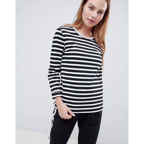 Sweatshirt & Hoodie im Sale - Only - Anya - Gestreiftes Sweatshirt mit 3/4 langen Ärmeln - Schwarz