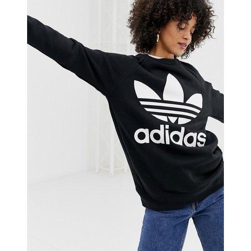 Sweatshirt & Hoodie im Sale - adidas Originals - Schwarzes Oversize-Sweatshirt mit Kleeblatt-Logo - Schwarz