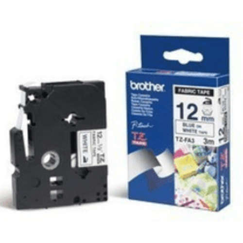Brother Brother TZ-FA3 Original P-Touch Blue on White Textile Tape 12mm x 3m