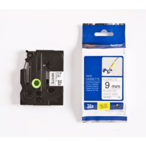 Brother Brother TZE-FX221 Original P-Touch Black on White Flexible ID Laminated Tape 9mm x 8m