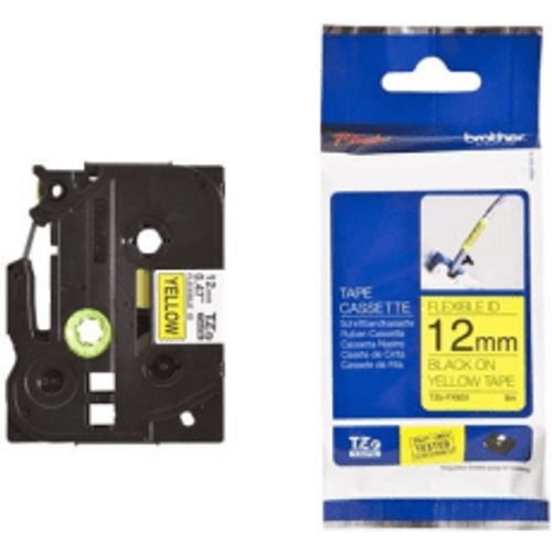 Brother Brother TZE-FX631 Original P-Touch Black on Yellow Flexible ID Laminated Tape 12mm x 8m