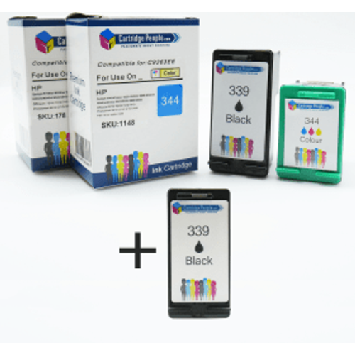HP Compatible HP 339 / 344 High Capacity Black & Colour Ink Cartridge 3 Pack (Own Brand)