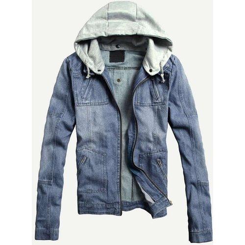 Veste en jean à capuche zippée - SHEIN - Modalova