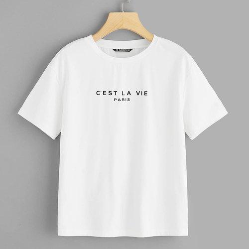 T-shirt avec imprimé et manche courte - SHEIN - Modalova