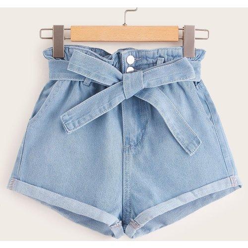 Short en jean ceinturé - SHEIN - Modalova