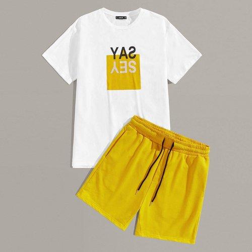 Ensemble short & t-shirt avec imprimé - SHEIN - Modalova