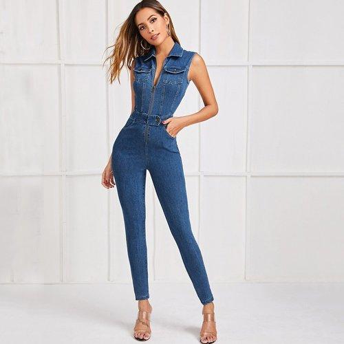 Combinaison moulante en jean avec zip - SHEIN - Modalova