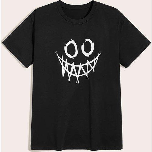 T-shirt avec col rond et imprimé dessin animé - SHEIN - Modalova