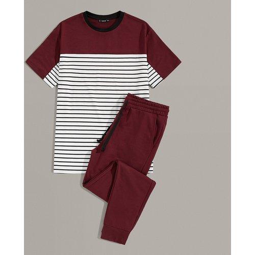 Ensemble t-shirt rayé & pantalon - SHEIN - Modalova